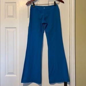 Lululemon low rise + wide leg turquoise yoga pant